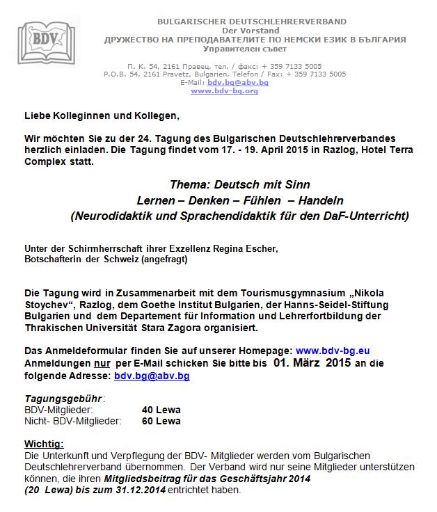 Einladung Tagung BDV 2015