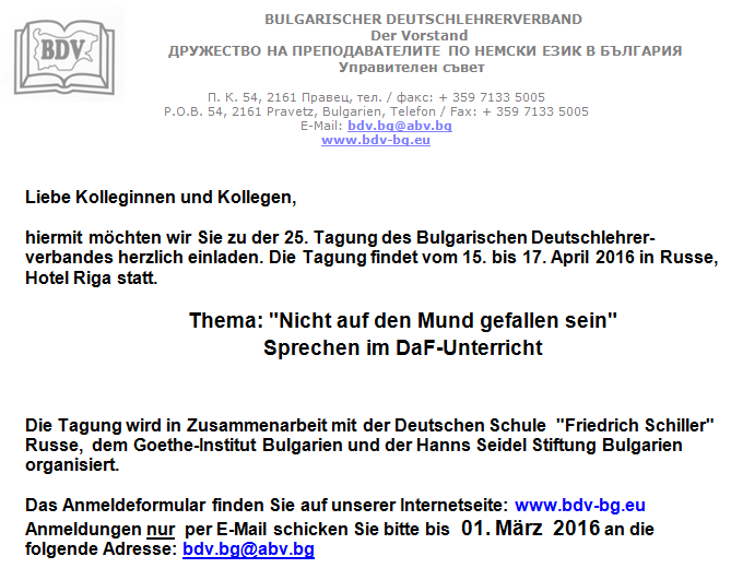Bekanntmachung BDV Tagung 2016